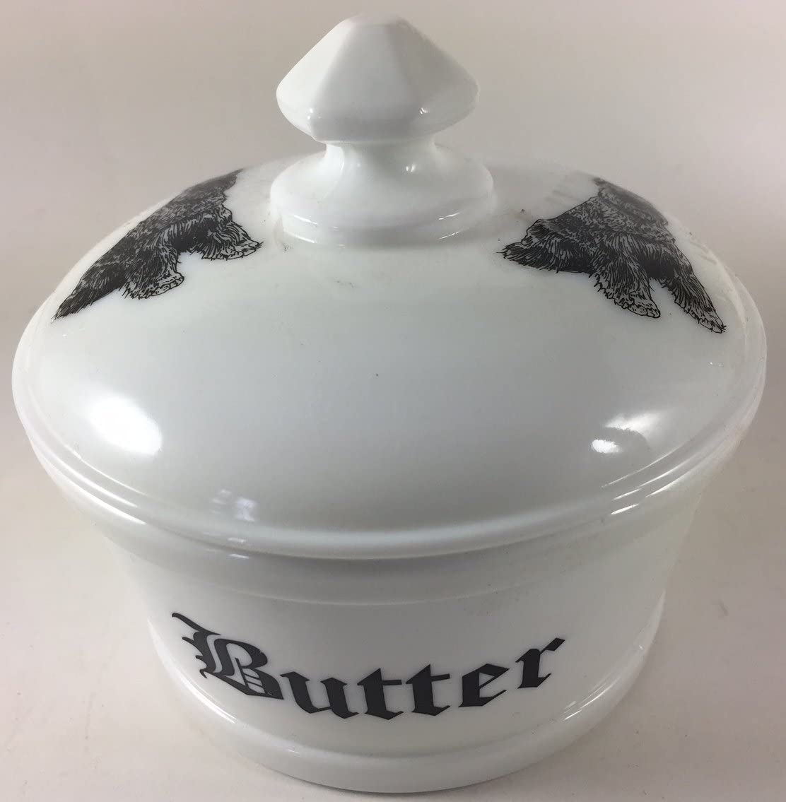 Butterdish/Butter Tub - Butter w/Schnauzer Dogs - Rosso Exclusive - American Made (Milk)