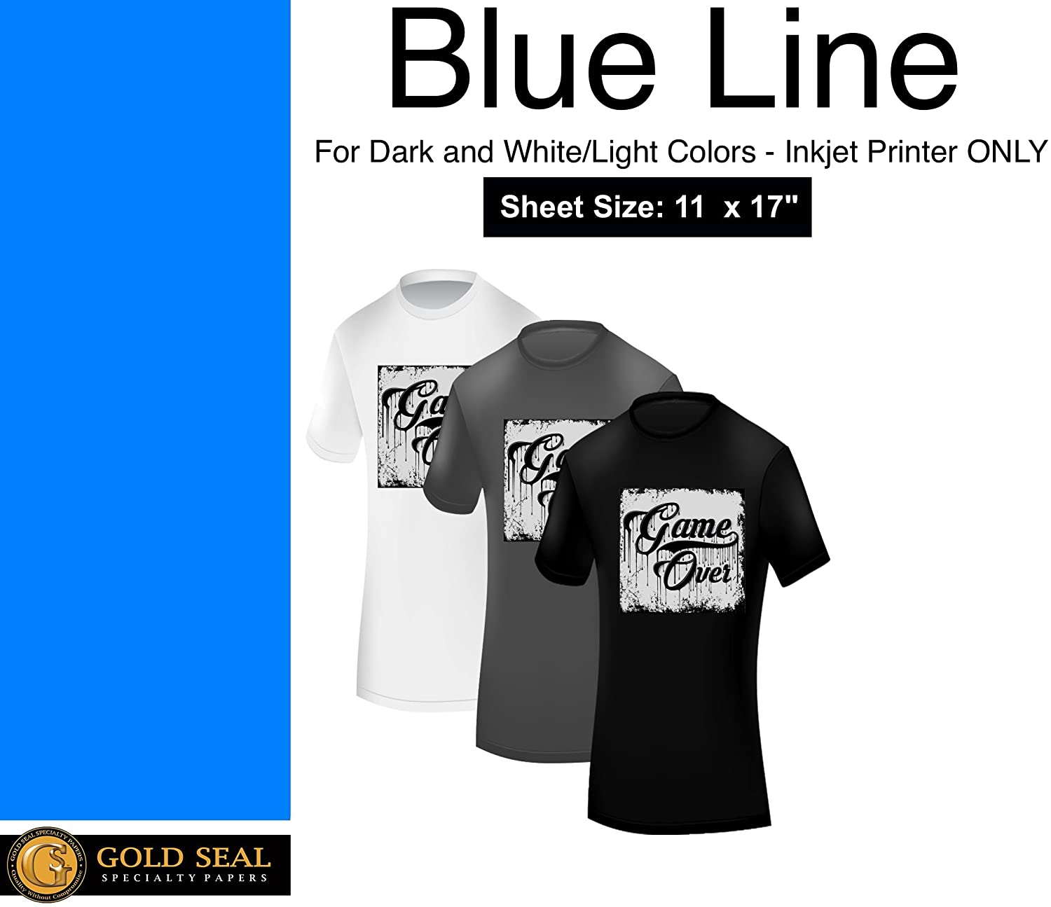 Blue Line Dark Iron On Heat Transfer Paper for Inkjet 11 x 17-55 Sheets