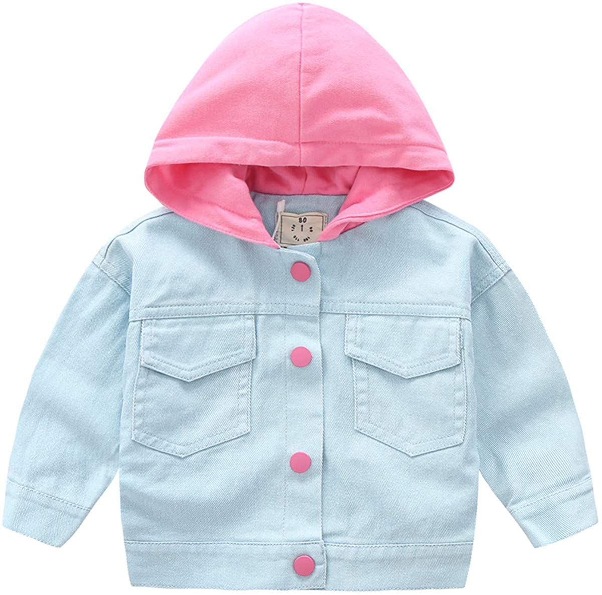 REWANGOING Baby Toddler Little Kids Girls Sweety Candy Color Letter Print Hoodie Cotton Jeans Jacket Outwear