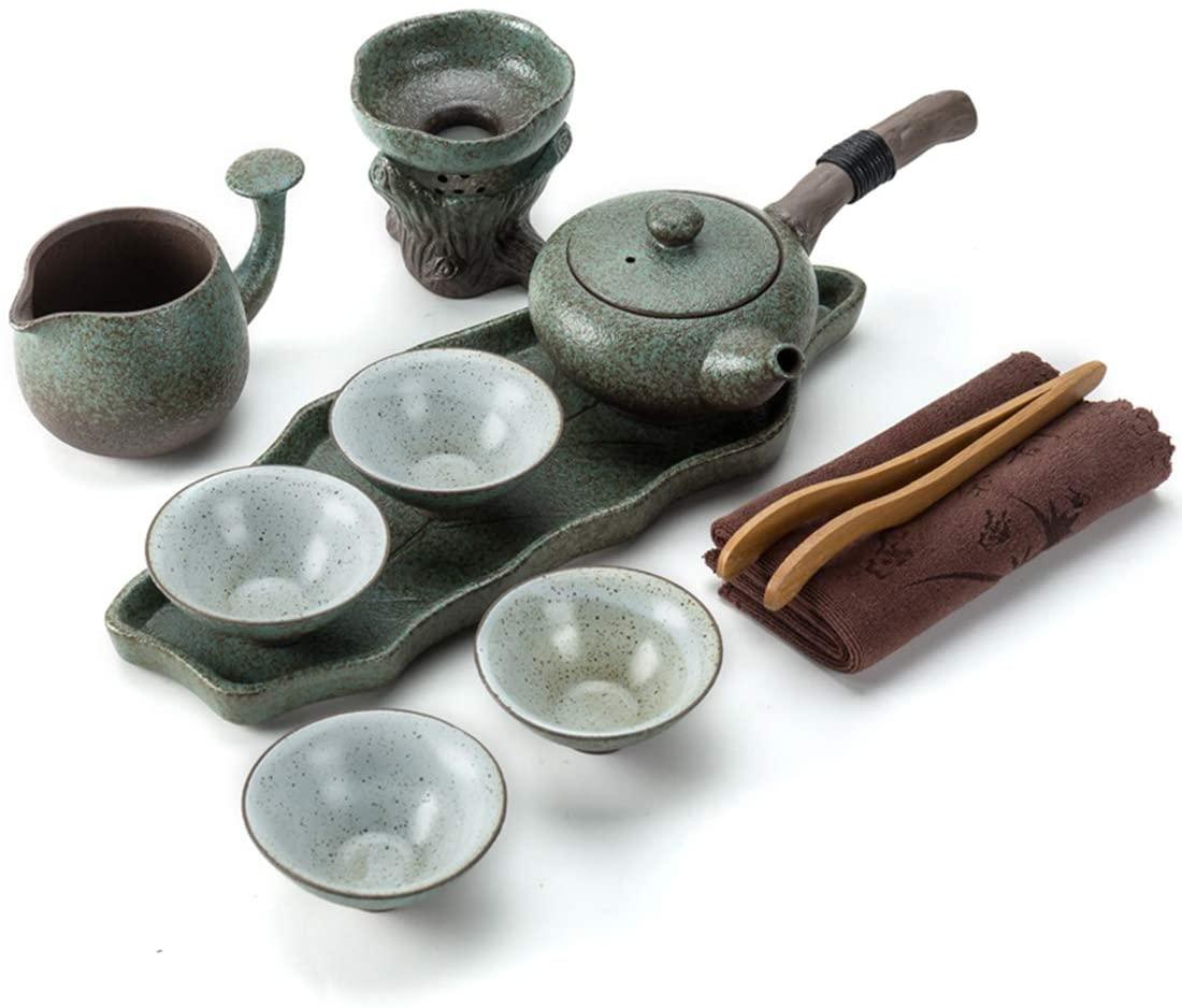 Kungfu Tea Set Handmade Chinese Vintage Porcelain Teapot & 4 Teacups & Tea tray & Tea strainer Healthy handmade ceramic tea set