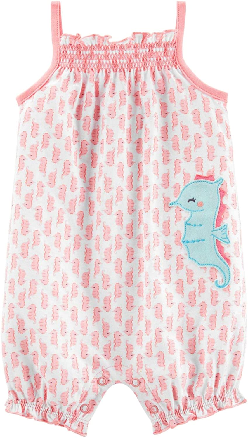 Child of Mine Sleeveless ONE Piece Romper, Baby Girl, Size 0-3(Pink/White)