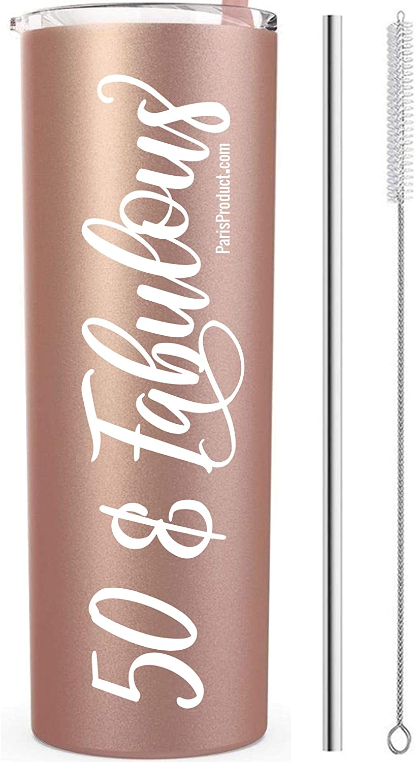 50 & Fabulous 20 Oz Stainless Steel Tumbler with straw | 50th Birthday Decorations For Women| 50th Birthday Gifts For Women| 50th Birthday Gifts| Insulated Wine Tumbler with lids| Coffee Tumbler Fifty