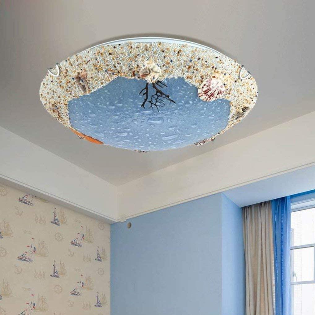 BOSSLV Round Glass Metal Chandelier Modern Mediterranean Sea Ceiling Lamp Bedchamber Lamp Creative Led Lamp 40Cm 18W 3000K Warm Light