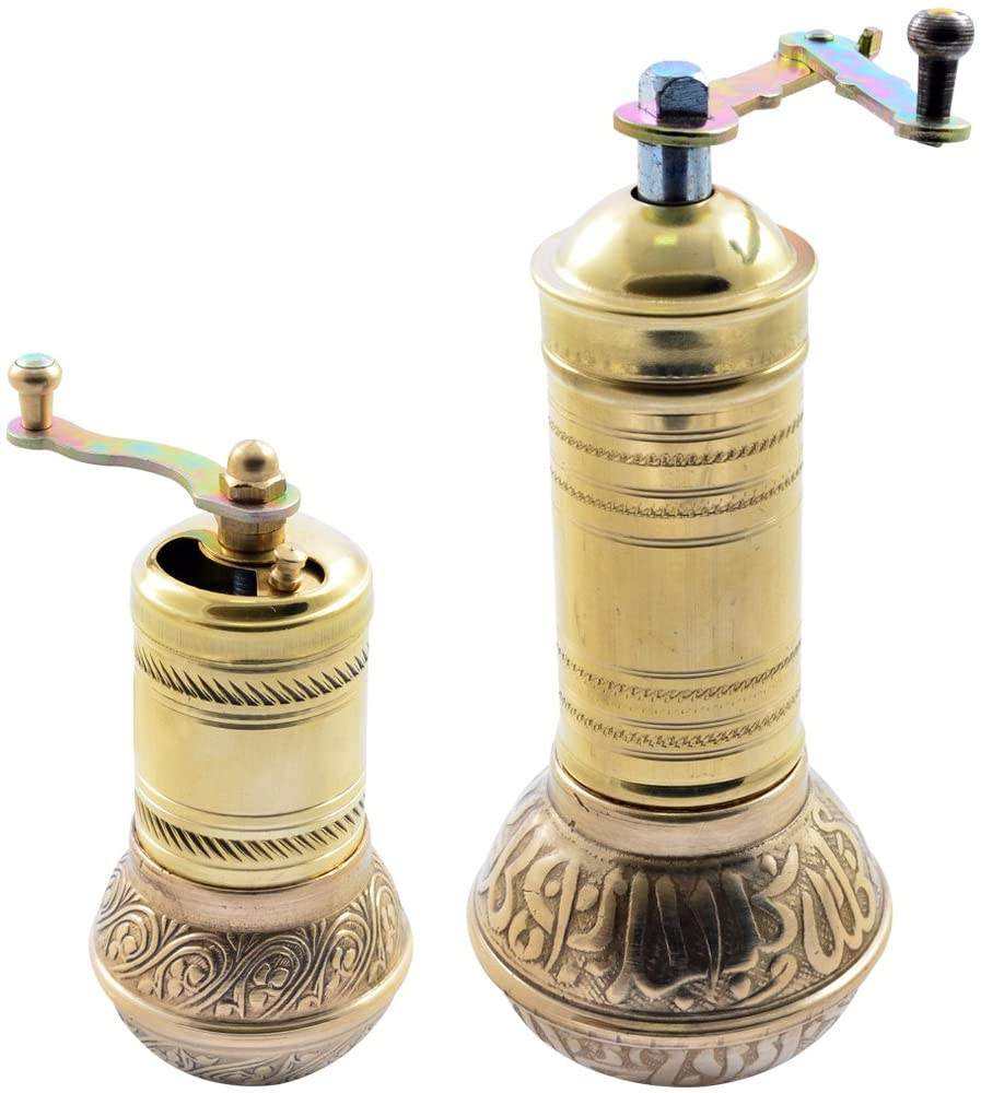 Manual Hand Grinder Mill SET for Turkish Greek Arabic Coffee Beans & Spice Pepper Salt , Brass (Mommy & Kid)