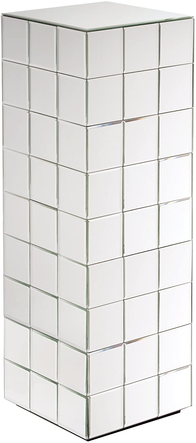 Howard Elliott Mirrored Puzzle Cube Pedestal Accent Table, Tall, 12 x 12 x 36 Inch