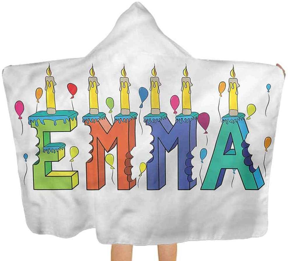 ThinkingPower Baby Hooded Bath Towel Emma, Popular Colorful Name Premium Baby Towel with Hood Soft, Absorbent & Comforting 51.5x31.8 Inch