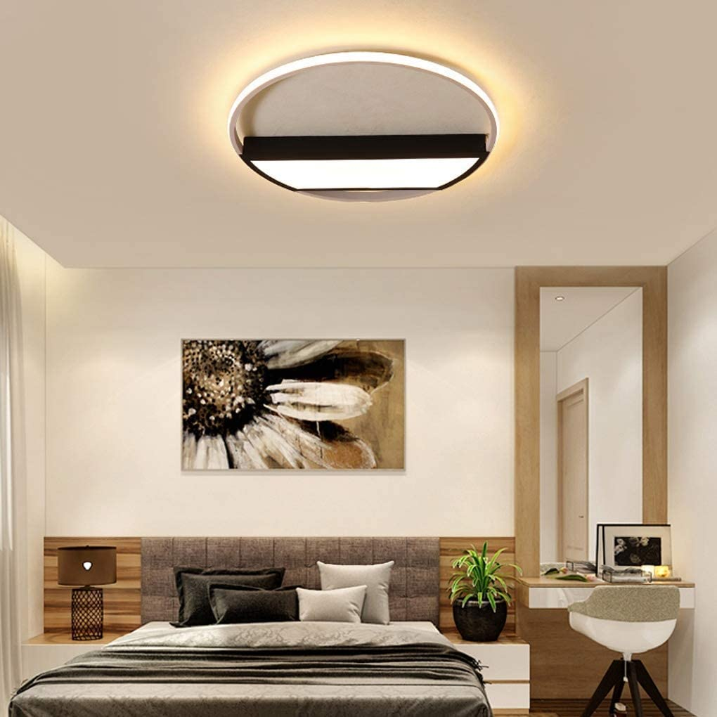 BOSSLV Modern Personality Remote Control Dimming Ceiling Lamp Ceiling Light Creative Bedchamber Dining Hall Study Ceiling Lighting Round Acrylic Aluminum Indoor Lighting 52Cm H5Cm,38W