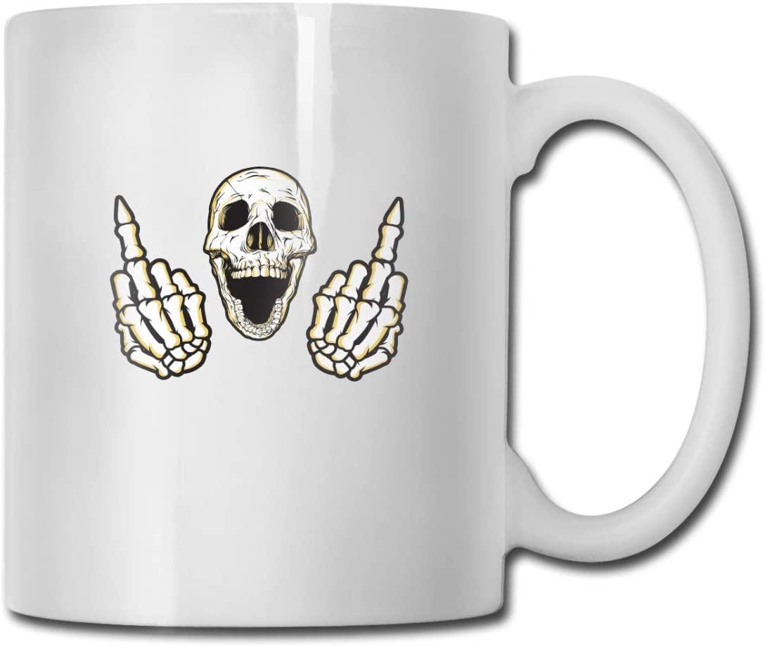 Skull Middle Finger Skeleton 11 Gusi ceramic coffee cup office restaurant