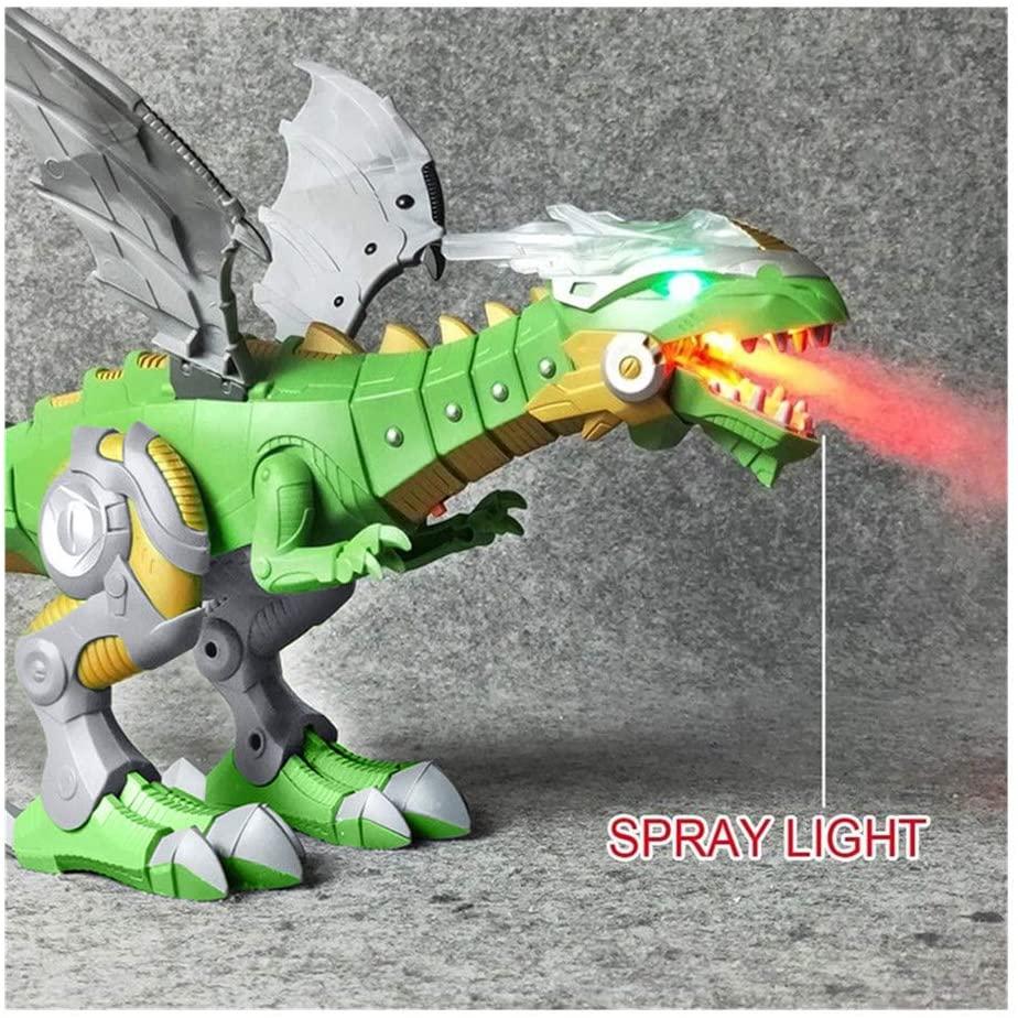 Fashion Spray Lights Dinosaur Toys, Fire Breathing Dragon Toy Spray Lights Fire Breathing Lighting Sprayer Walking Dragon Water Spraying Christmas Dinosaur Toy Gift for Children (Green)