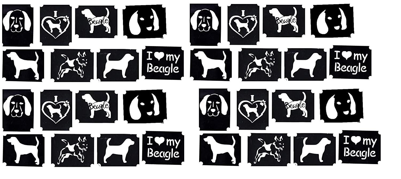 Beagle Collection (Beagle Dog Glitter airbrush tattoo stencils)