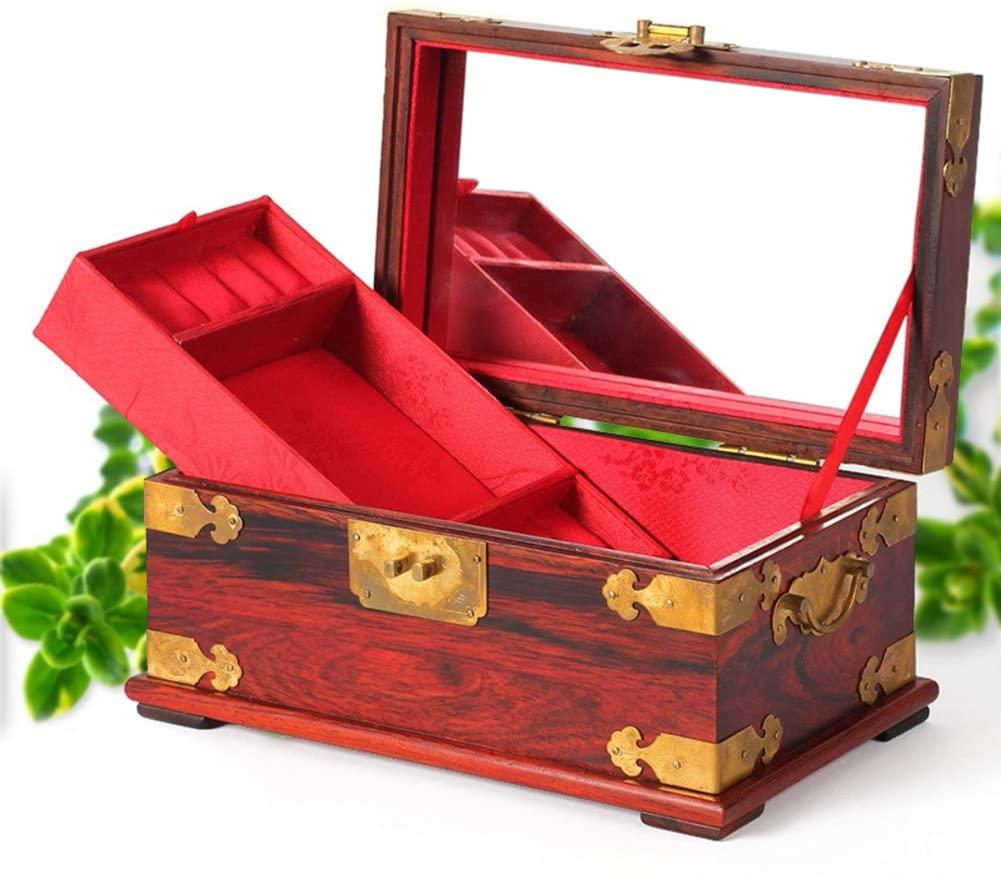 Red rosewood mahogany jewelry box Chinese Jewelry vintage hand Storage Box decorative wooden box-B