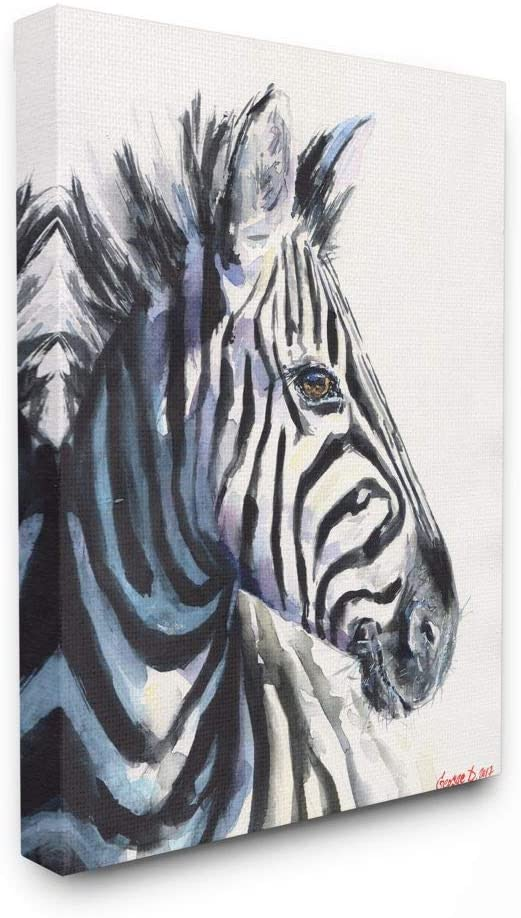 Stupell Industries Large Zebra Head Animal Watercolor Painting Canvas Wall Art, 16 x 20, Multi-Color