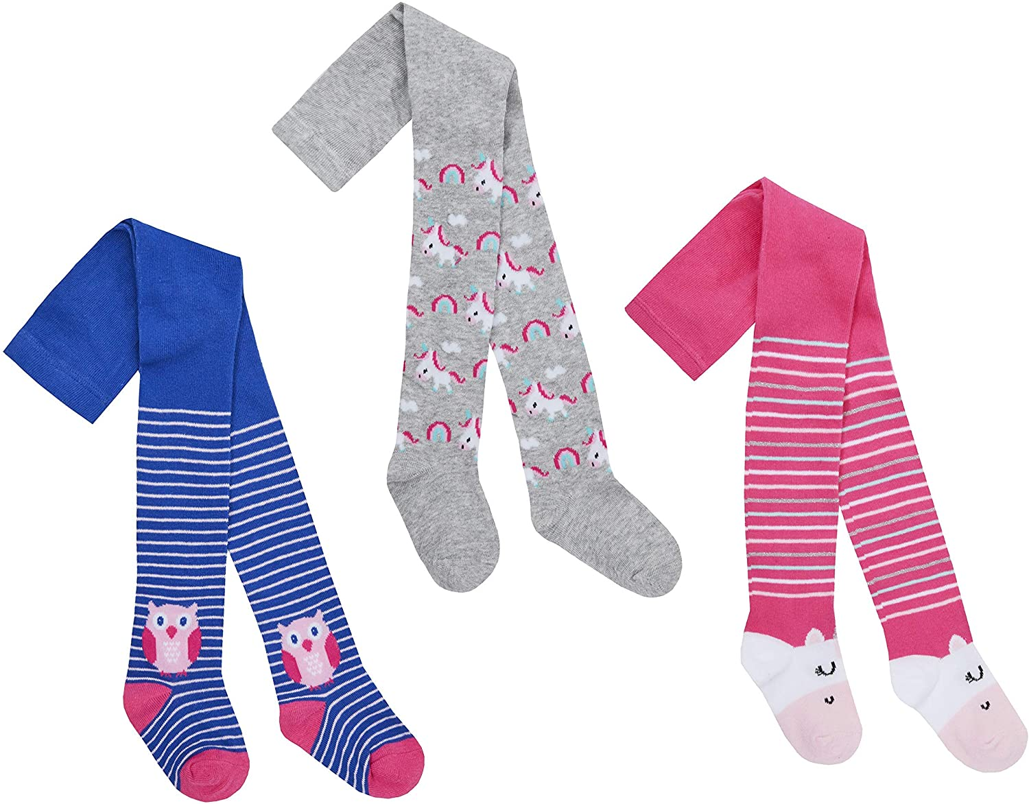 Babies 3 Pk of Unicorn and Owl Tights