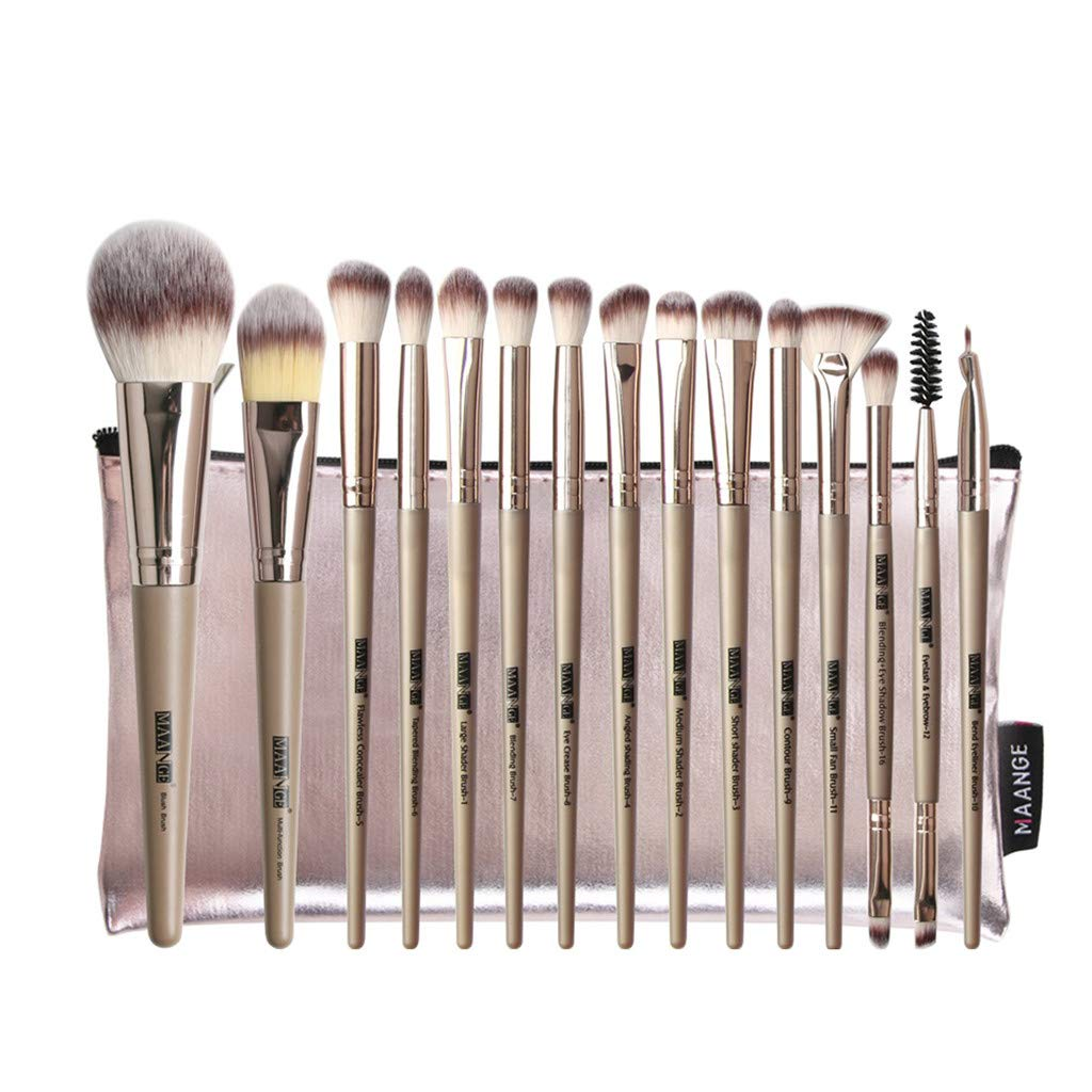 9 Pieces Makeup Brush Set Professional Bamboo Handle Premium Synthetic Kabuki Foundation Blending Blush Concealer Eye Face Liquid Powder Cream Cosmetics Brushes Kit with Bag
