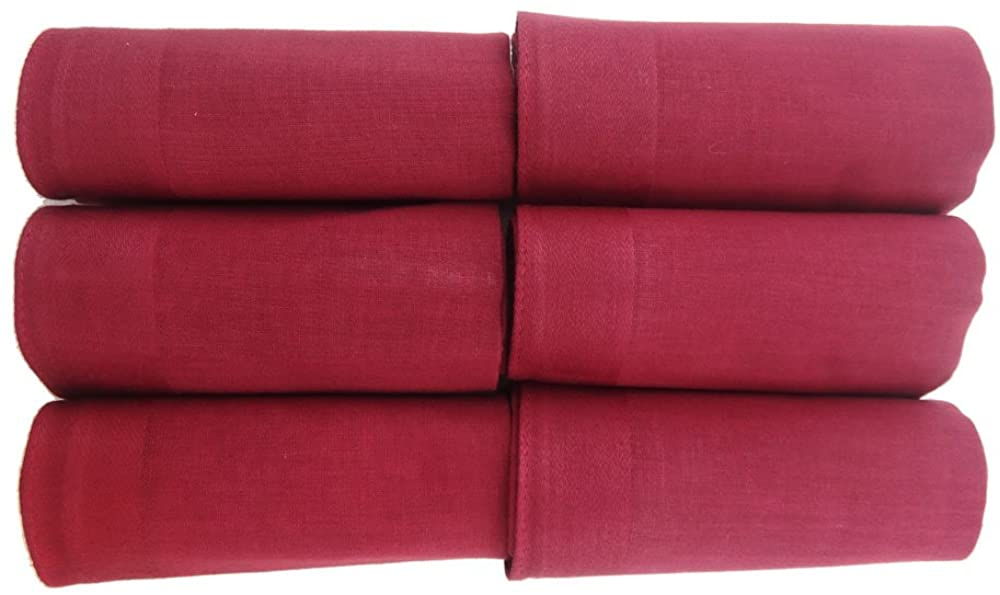 OWM Handkerchief Pack of 6 Solid Classic Cotton Handkerchiefs Red