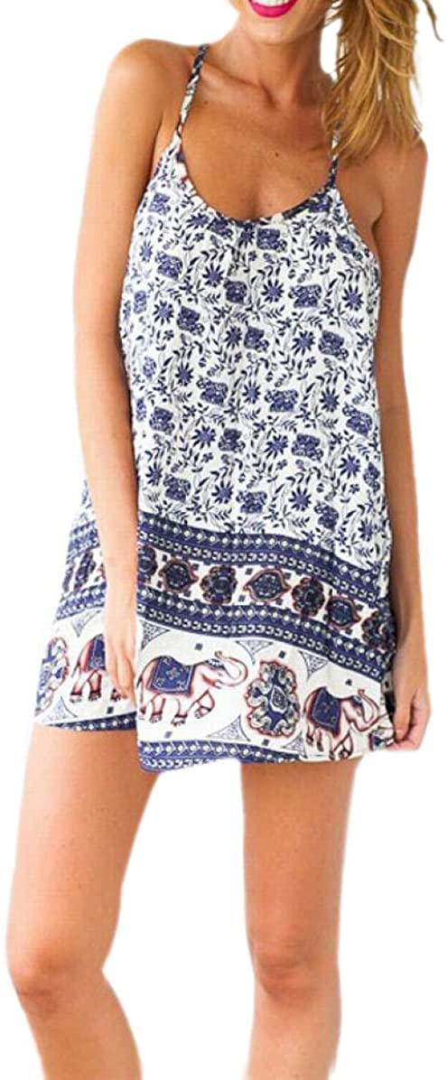 JJ-GOGO Elephant O-Neck Printed Patterns Sleeveless Slip Dress