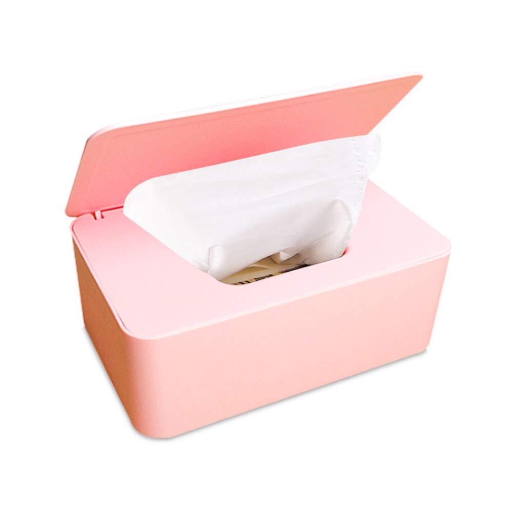 Frjjthchy Wipes Dispenser Dustproof Plastic Tissue Holder Box with Lid for Home Office Desk (Pink)