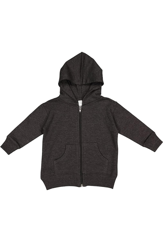 Rabbit Skins Infant Fleece Long Sleeve Full Zip Hooded Sweatshirt with Pouch Pockets, Vinatge Smoke, 12 Months