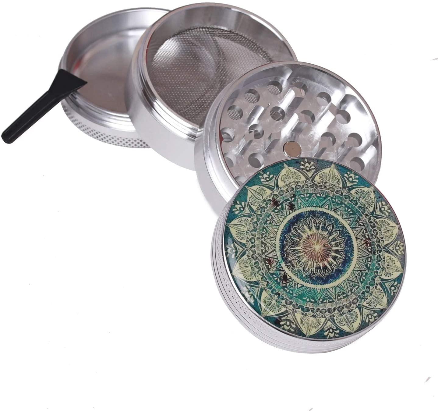 BrightTea Grinders, Best Herb Grinder 2.0 Inch 4-piece Aluminum Alloy With Pollen Catcher Blue Mandala–White