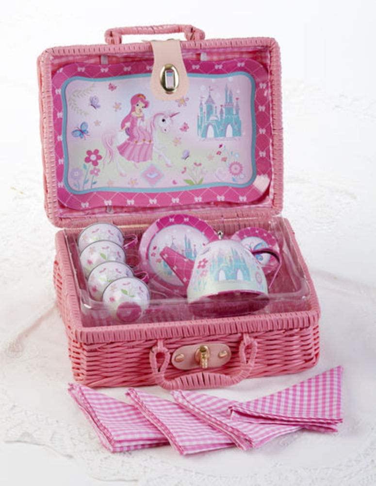 Delton Products 8003-6 Tin 19 Pc Tea Set in Basket, Princess
