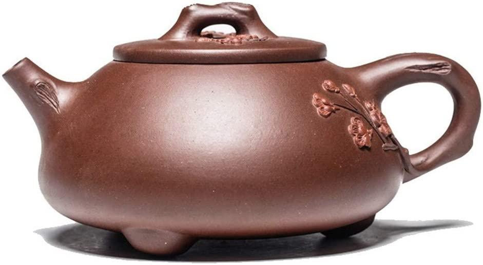 SHENLIJUAN purple clay ore fine all-handmade purple clay teapot tea exquisite plum stone scoop Teapot Set (Color : Purple mud)