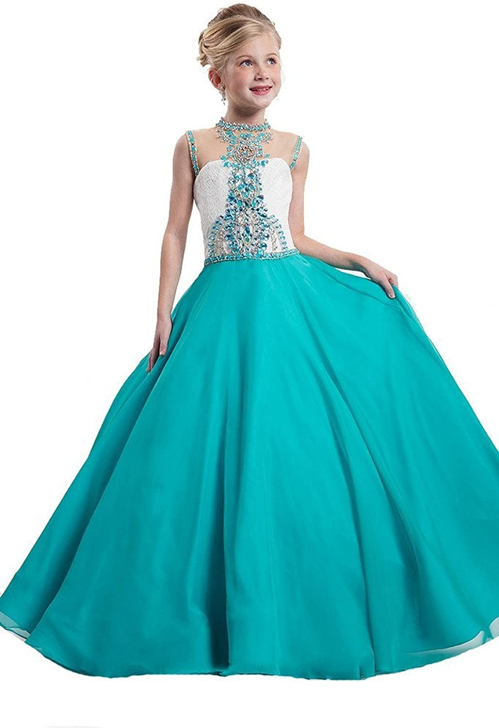 WZY Girls Illusion Neckline Pageant Gown Kids Party Ball Gowns Girls Pageant Dresses