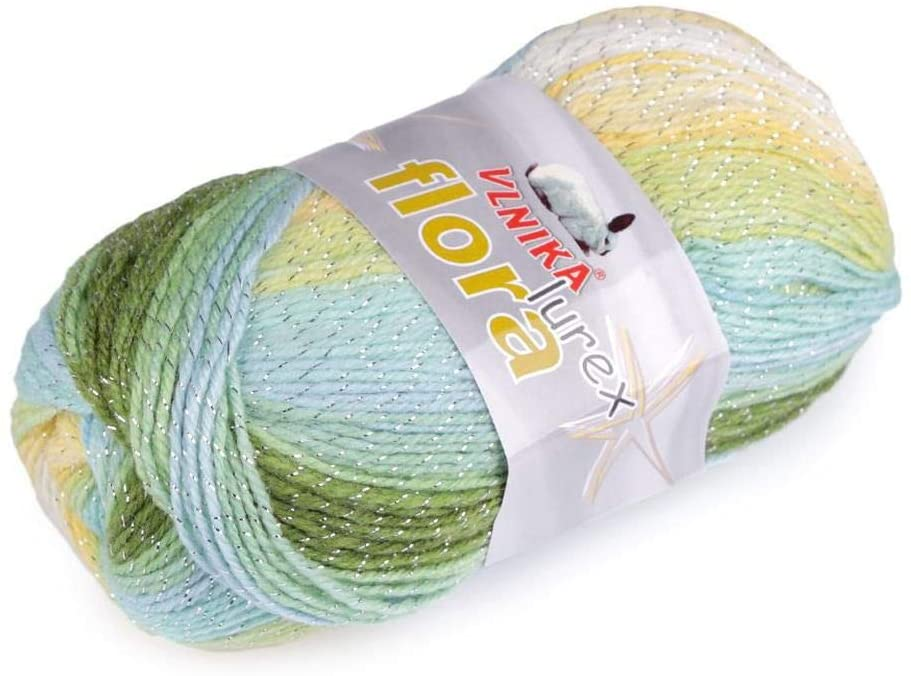 1pc (17) Lig.Pastel Green Knitting Yarn Flora Lurex/Papatya 100g, and Threads, Crochet, Haberdashery