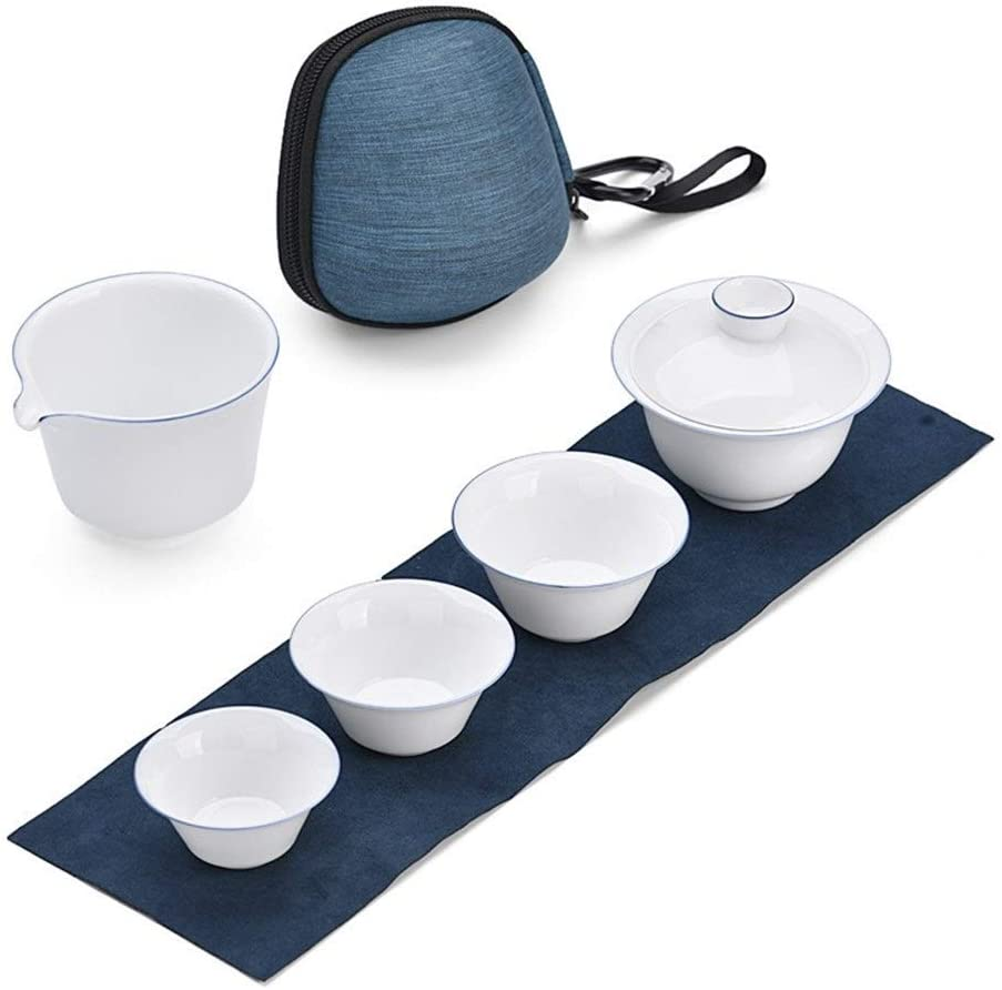 MADONG Ceramic travel tea sets blue glaze ceramic tea set portable Quik Cup Travel Tea Set (Color : White porcelain blue edge)