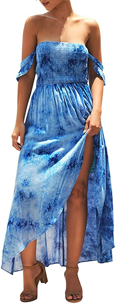 Howley Fashion Sexy Women's Strapless Shoulder Print Bifurcation High Waist Beach Dress