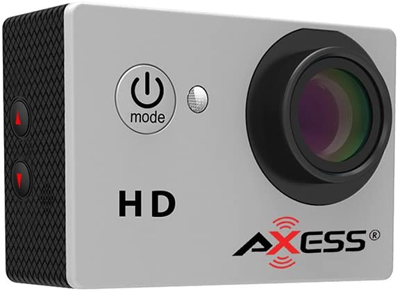 AXESS CS3603 720p HD Wide Angle Lens Sports and Action Camera with Waterproof Housing and Accessories (Silver)