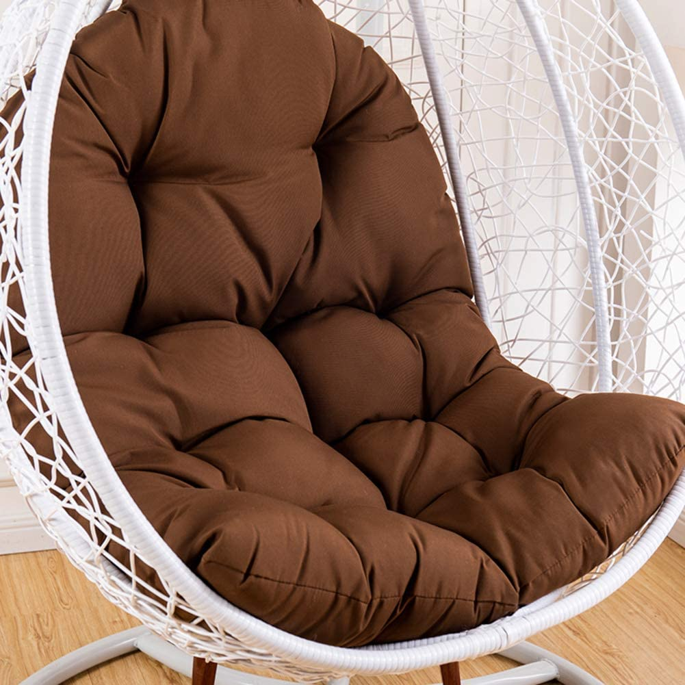 Hanging Hammock Cushion,Rattan Cushion Cover Without Stand,Removable Basket Swing Chair Pad,Thick Egg Nest Chair Cushion Dark Brown 95x125cm(37x49inch)