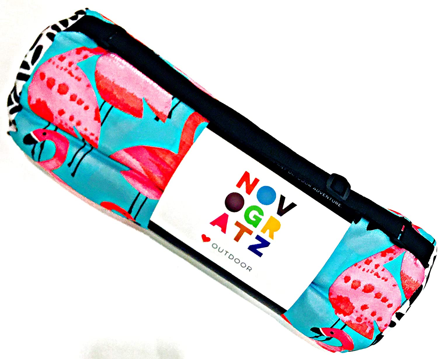 Novogratz Outdoor Beach/Picnic Blanket Featuring Hot Pink Flamingos with Matching Carrying Bag | Water Repellent/Reversible