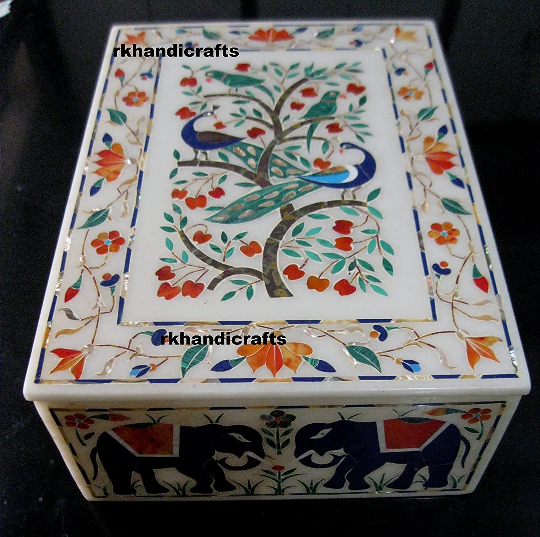 rkhandicrafts Marble Elegant Jewelry Box Bangle Box Accessories Box Semi Precious Multi Color Stones Peacock and Elephant Design Inlaid Item 8 x 11 Inches