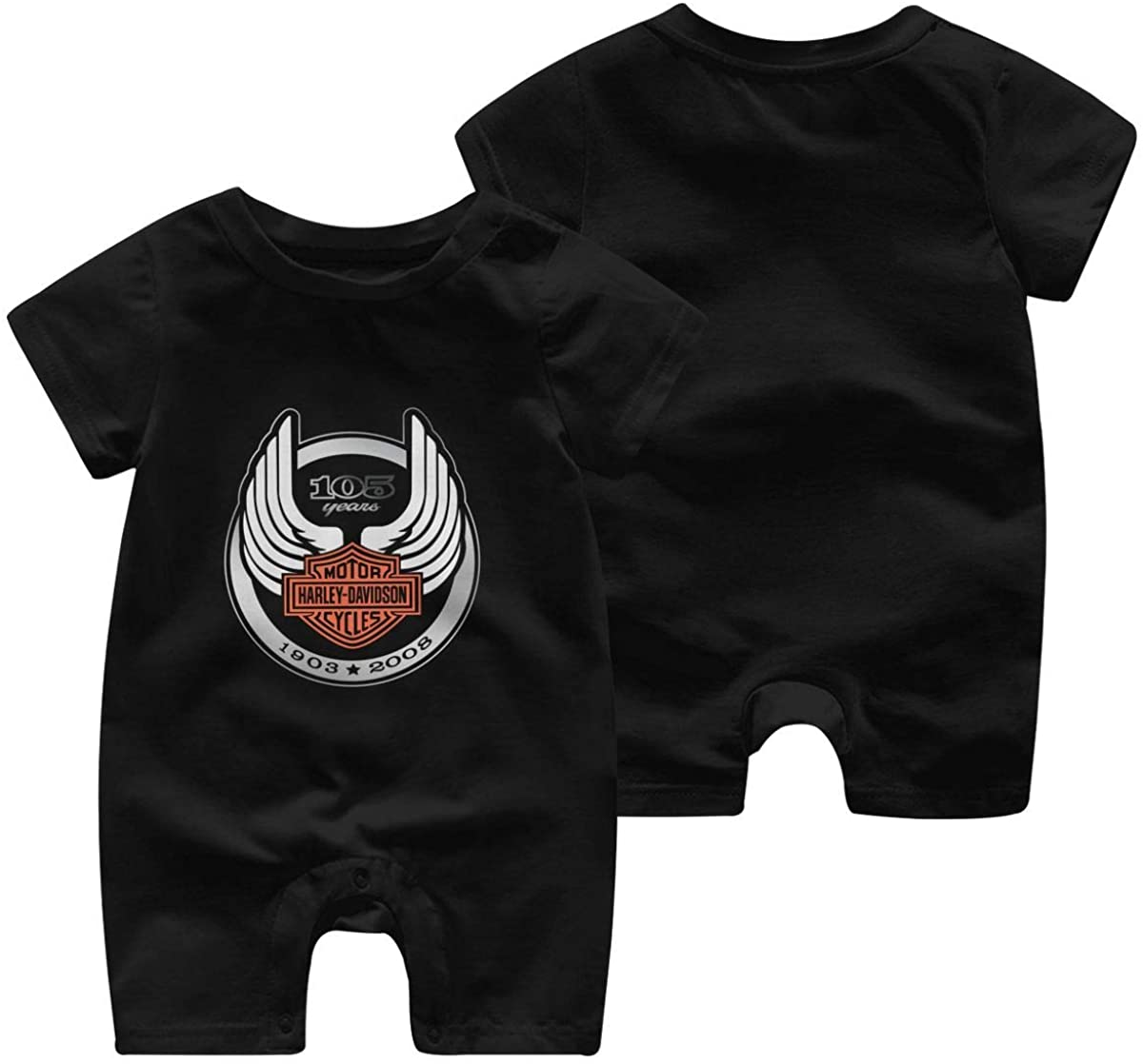 Harley Davidson One Piece Outfits Baby Solid Color Rompers with Button Kids Short Sleeve Playsuit Jumpsuits Cotton Clothing 12 Months Black