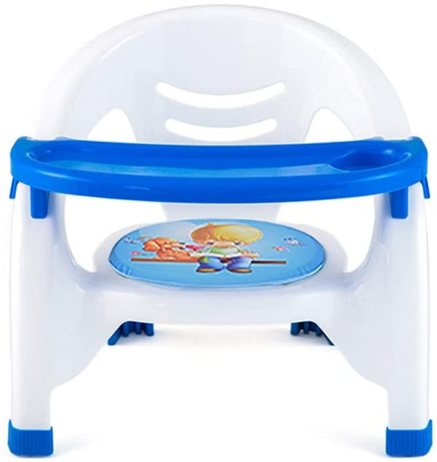 PUEEPDEE Booster Seat with Snack Plate Baby Booster Seat High Chair Portable Kids Dinner Chair with Tray Feeding Plate Table Anti-Slip Safe Comfortable High Chair for Babys (Color : Blue)