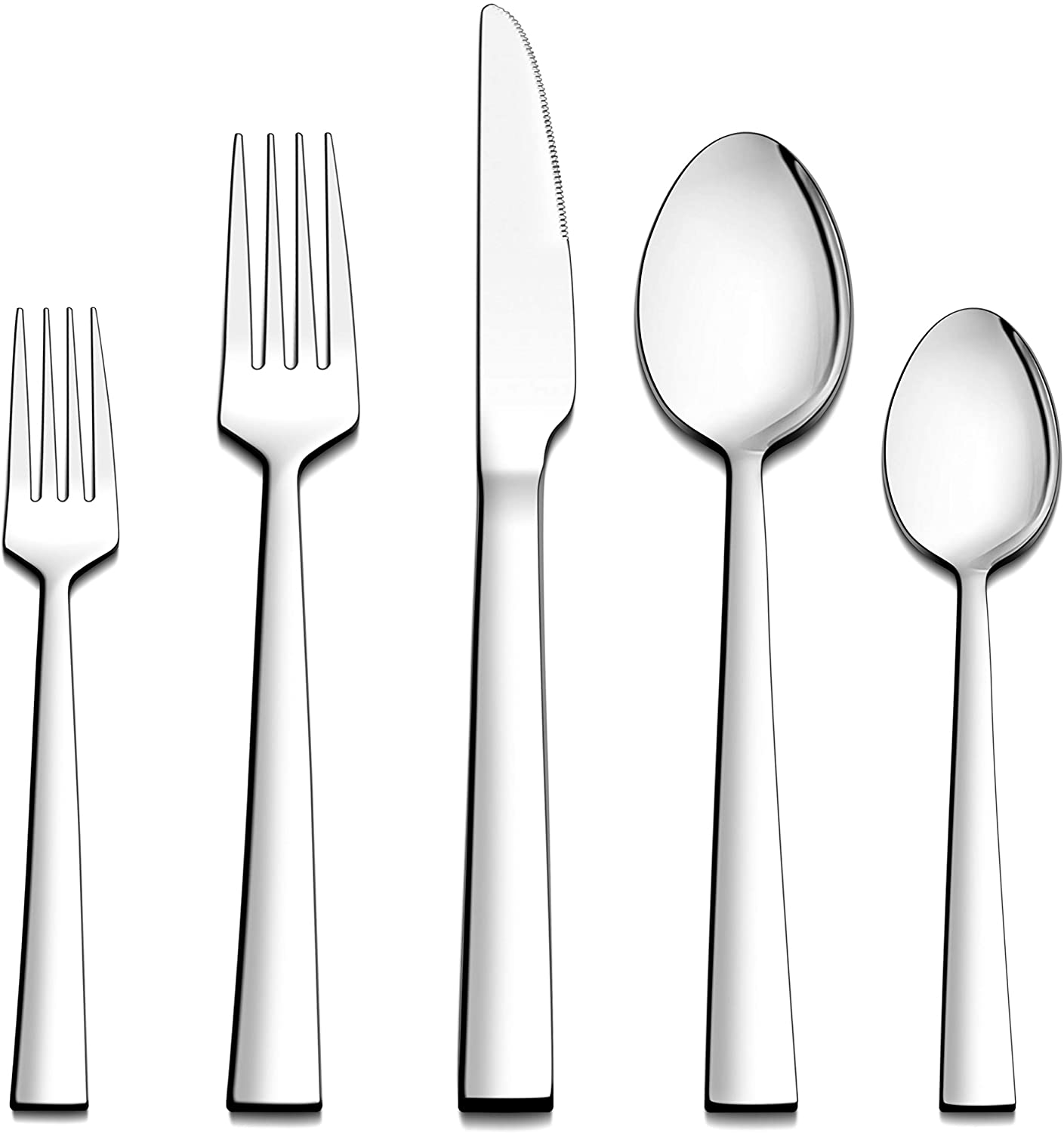 LIANYU 60-Piece Silverware Set, Stainless Steel Square Flatware Cutlery Set for 12, Eating Utensils Tableware, Mirror Finish, Dishwasher Safe