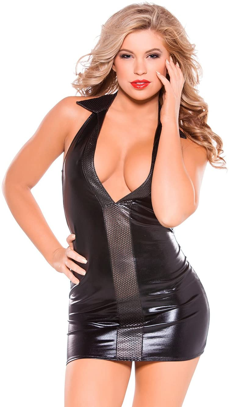 Allure Lingerie Kitten Wet Look and Faux Leather Dress Black O/s