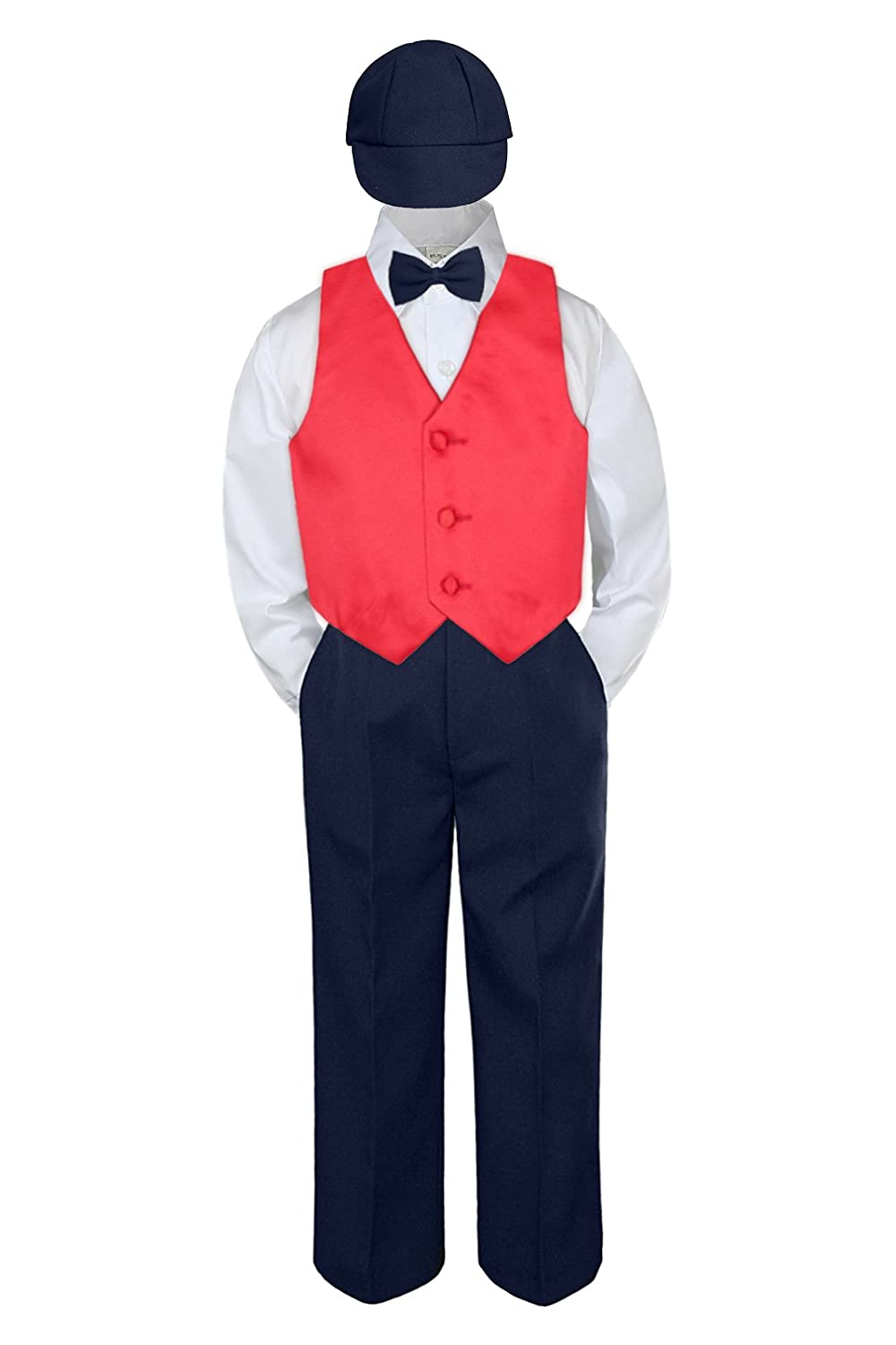 5pc Baby Toddler Kid Boys Navy Pants Hat Bow Tie Purple Vest Suits Set (6)