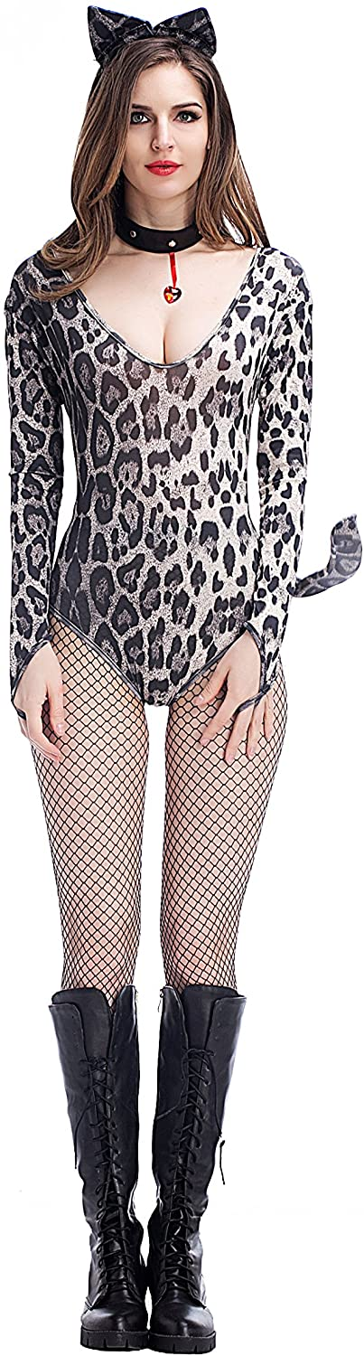 PINSE Halloween Leopard Catsuit Costume for Women