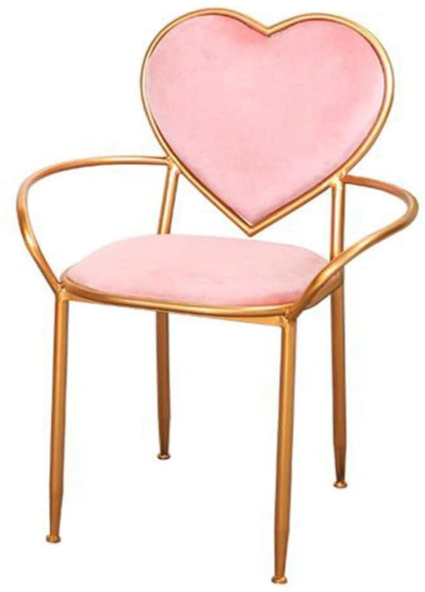 Pink Heart Chair, Creative Armchairs Iron Art Dining Chair Balcony Lounge Chair Golden Dressing Table Chair Simple Bedroom Decorative Chair 83cm (Color : Pink)