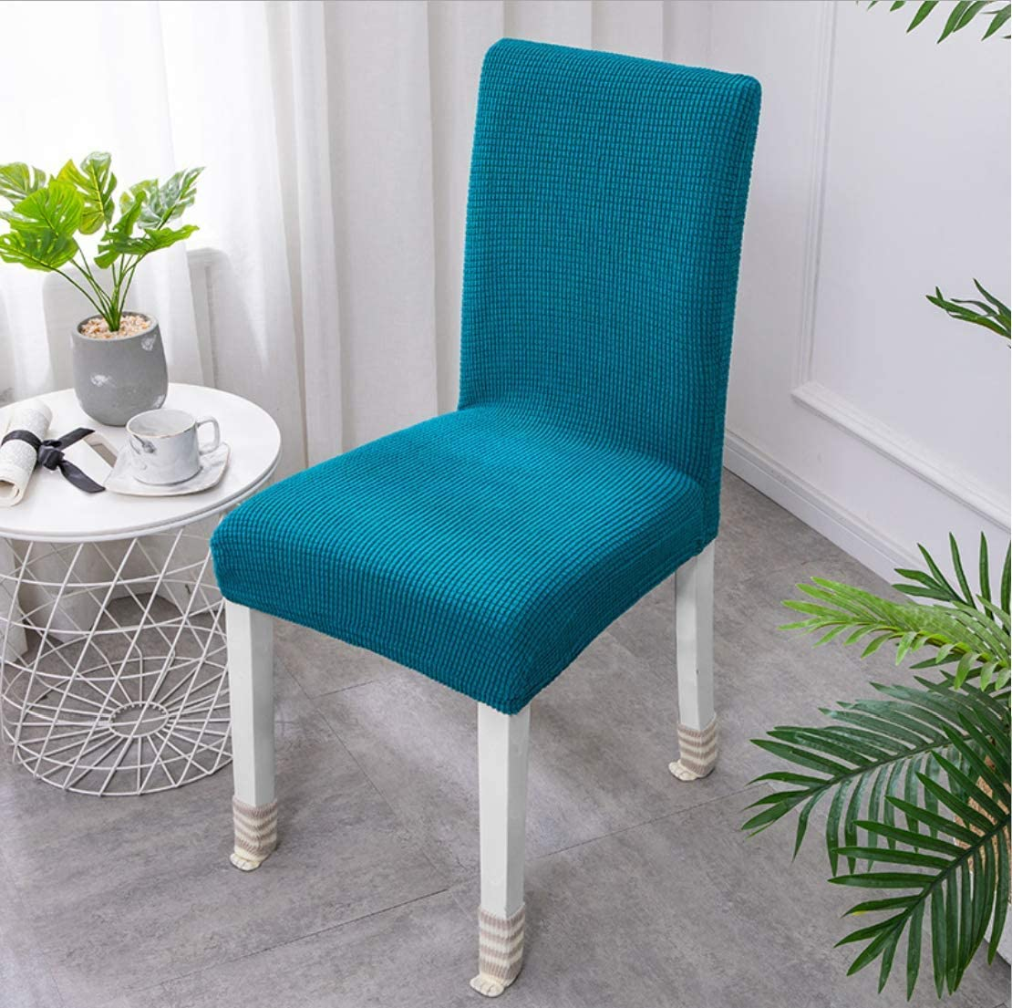 Chris.W 2Pack Stretch Dining Room Chair Slipcovers Sets, Elastic Chair Covers Removable Washable Bottom Chair Protector Cover for Banquet Wedding Party Hotel Ceremony(Peacock Blue)