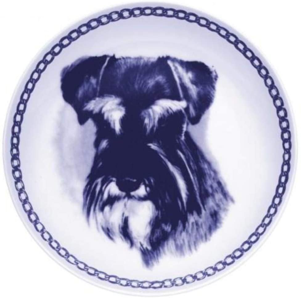 Miniature Schnauzer Dog Porcelain Plate Perfect For all Dog Lovers Size 7.61 inches