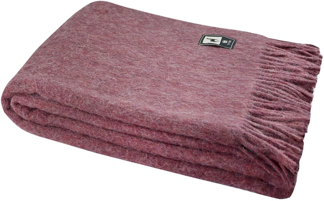 Superfine Natural Alpaca Yarn & Merino Wool Woven Blanket Fringed Throw (Soft Burgundy)