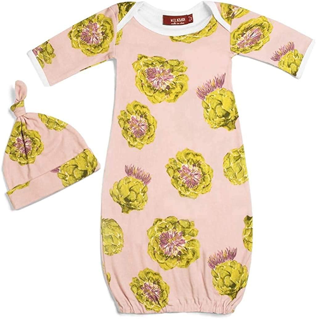 MilkBarn Organic Baby Girls Gown and HAT Set Artichoke Design Style 71108 Sizes 0-6 Months