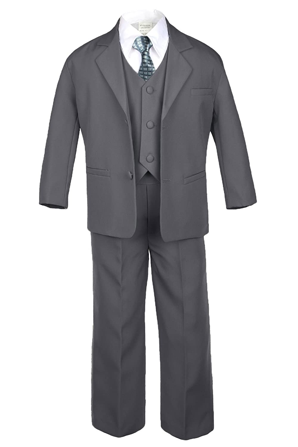 6pc Boy Baby Dark Gray Suit Set with Satin Checkered Necktie Outfits All Size (Medium:(6-12 months))