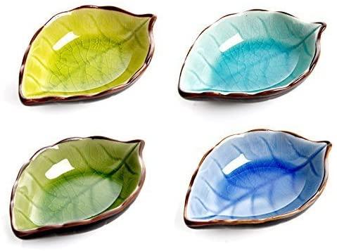 Astra shop Appetizer Plates Ceramic Leaf Shape Porcelain Saucers Bowl Sauce Dishes Sushi Dinnerware, Set of 4