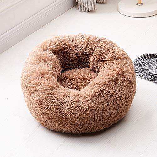 LANGGE Soft Warm Round Pet Dog Bed Comfy Calming Pet Bed Dog Cushion Mat Dog Cat Washable Plush Kennel Donut Bed