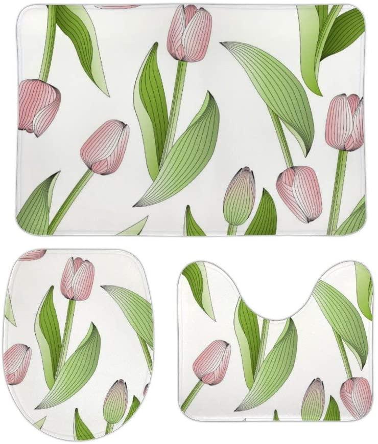 Yilooom 3 Pack Bath Mat Set, Modern Chic Pink Tulip Floral Pattern Absorbent Memory Foam Soft Shower Bath Rugs Contour Mat and Lid Cover,Non Slip Velvet Bathrug,Shower Toilet Bathmats Carpet 16