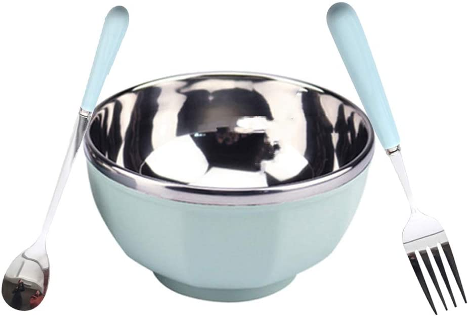 POYAKU Dinnerware Set- Stainless Steel Dinnerware Include Outer Plastic Inner 18/8 Stainless Steel Bowl/Spoon/Fork, Eco Friendly & BPA Free (Pale Blue)