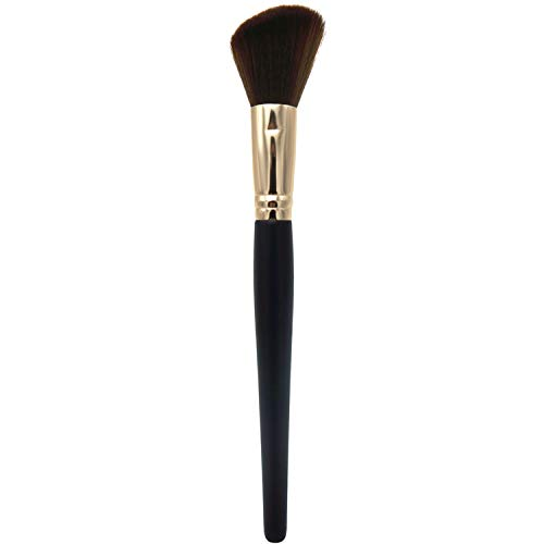 LOVCHU Black Wooden Handle Design Angled Cosmetic Brush, Powder-Makeup Brush for Large Coverage Mineral Powder & Blush & Shadows & Bronzer & Blending Buffing &Contour with High-end Gift box